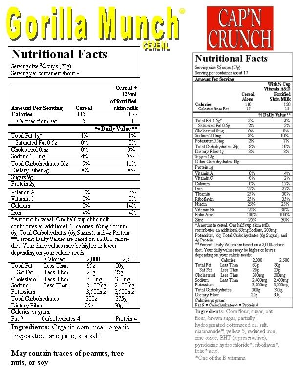 Nutrition Label For Captain Crunch Cereal