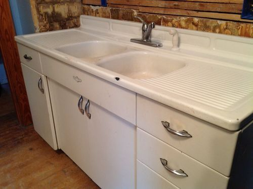 Vintage Metal Kitchen Sink Youngstown Steel Enamel Counter Retro Cabinets In