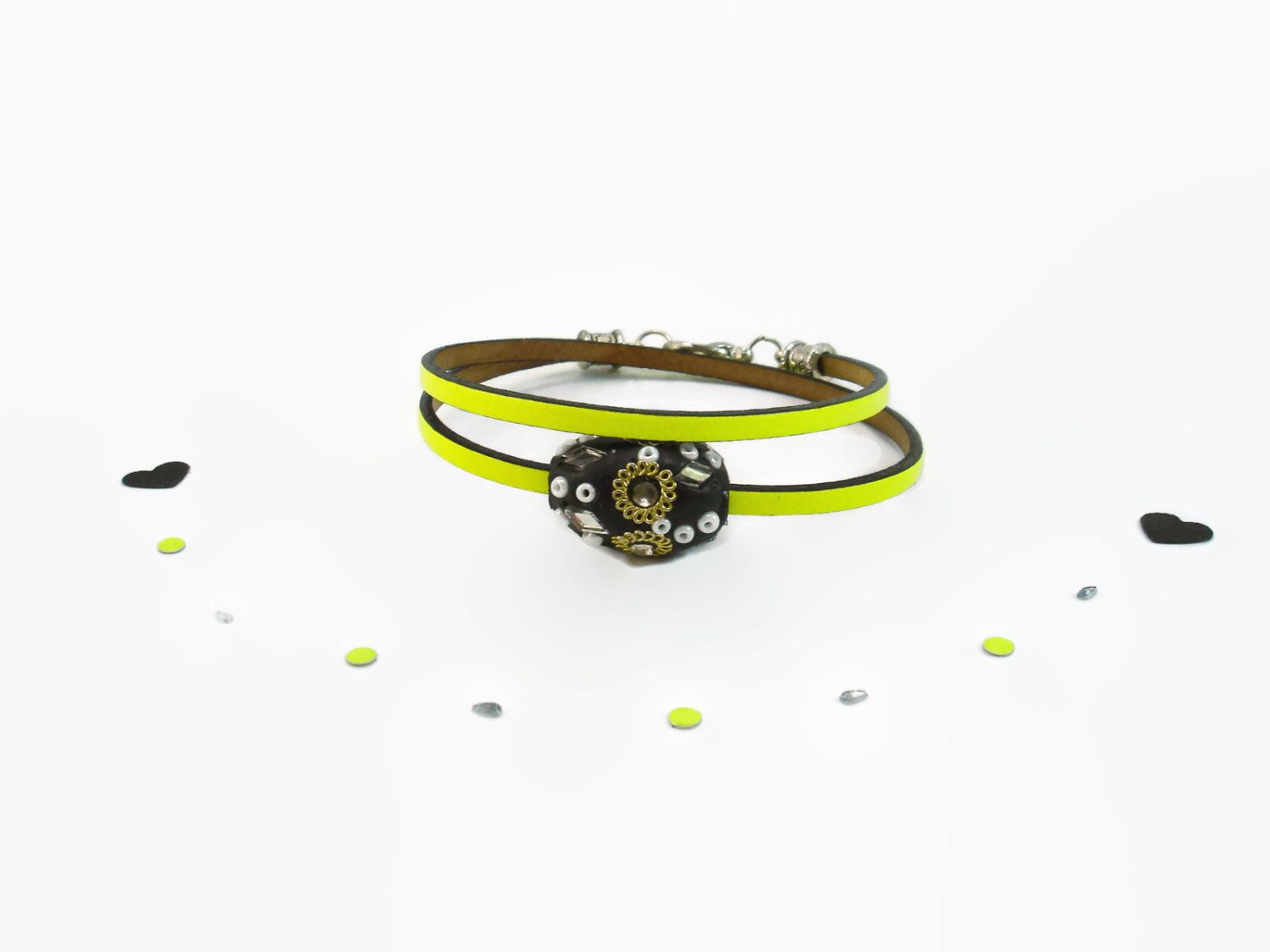 Double Wrap Leather Bracelet in Neon Yellow, Indian Style  Wrap Bracelet, Kashmir Charm Bracelet in Acid Yellow and Black, New Summer 2015 by ScrapCati on Etsy