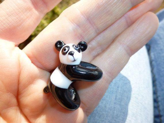 MADE TO ORDER  dreadlock Bead  8mm hole Panda Bear by karibeads, $14.95