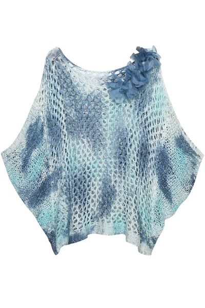 Open-Knit Batwing-Sleeves Sweater