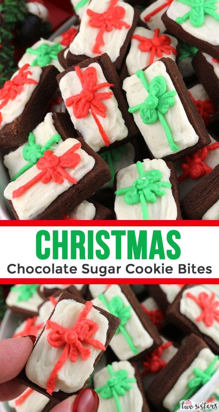 Christmas Chocolate Sugar Cookie Bites Recipe