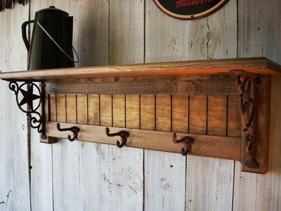 Country Western Coat Hat Rack Shelf By Nottooshabbyshelves On 85 00