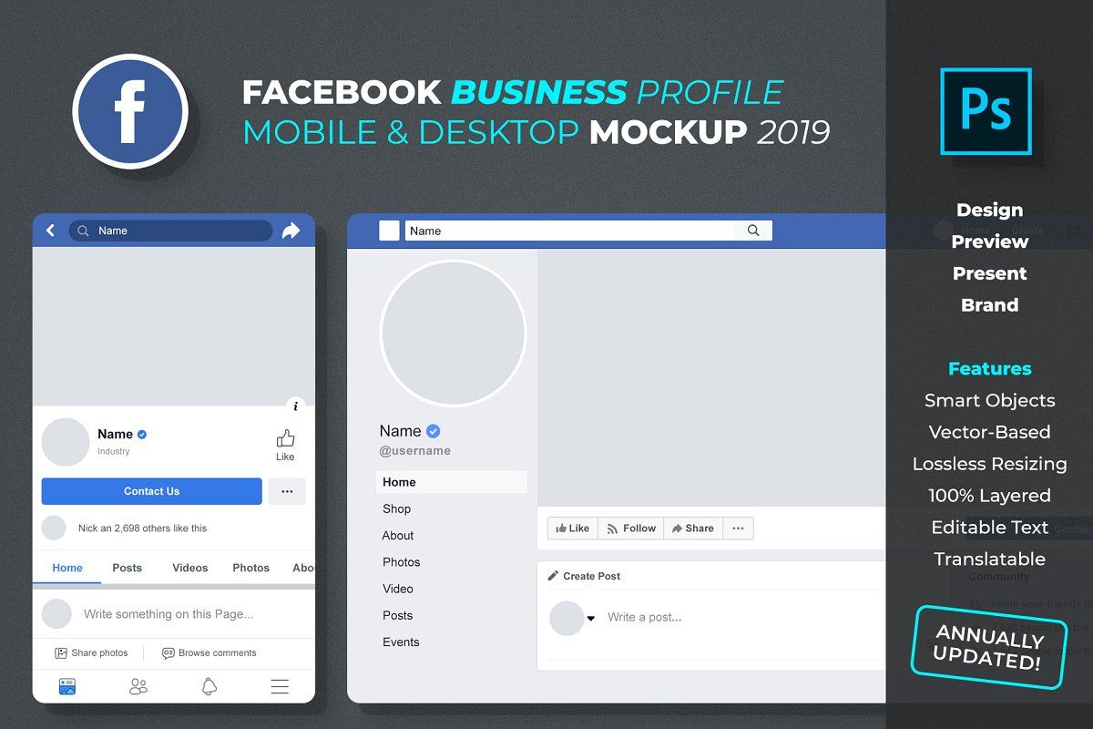 New Facebook Business Profile Mockup Social Media Mockup Facebook Business Facebook Design