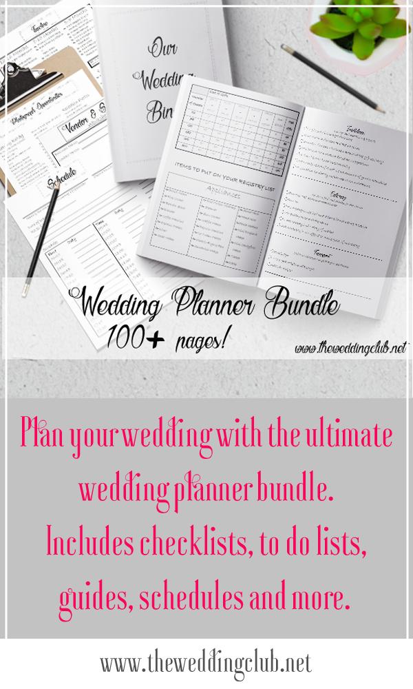 Wedding Planner 2018 Bundle - printable, wedding planner, planner ...