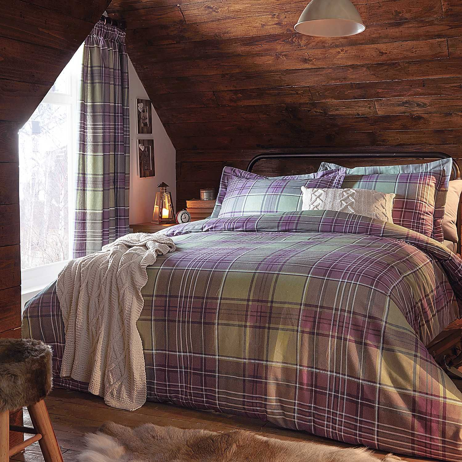 Highlands Green Tartan Duvet Cover and Oxford Pillowcase Set | Follow one of the key trends this season with our new and exclusive Highlands tartan range, available in winter warm colours. #Style #Home #Bedding #Bed #Bedroom #Lifestyle #Kaleidoscope www.kaleidoscope.co.uk