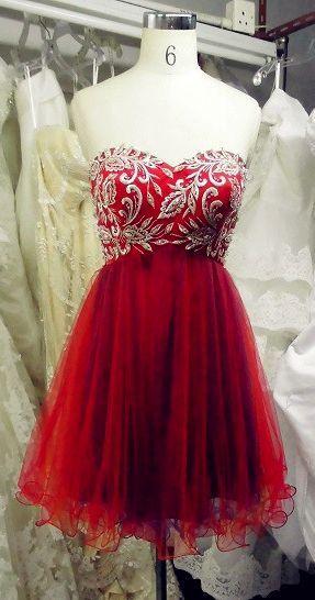 Red Homecoming Dressbeaded Prom Dress Short Prom Dressesshort