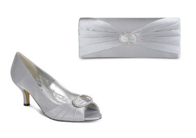 Silver Grey Low Heel Shoes | Tsaa Heel