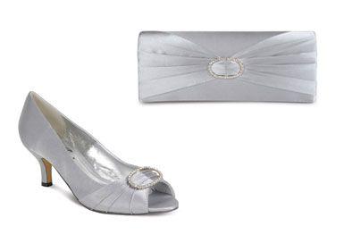 Lunar Shoes Flr119 Silver Grey Satin With Matching Bag Save