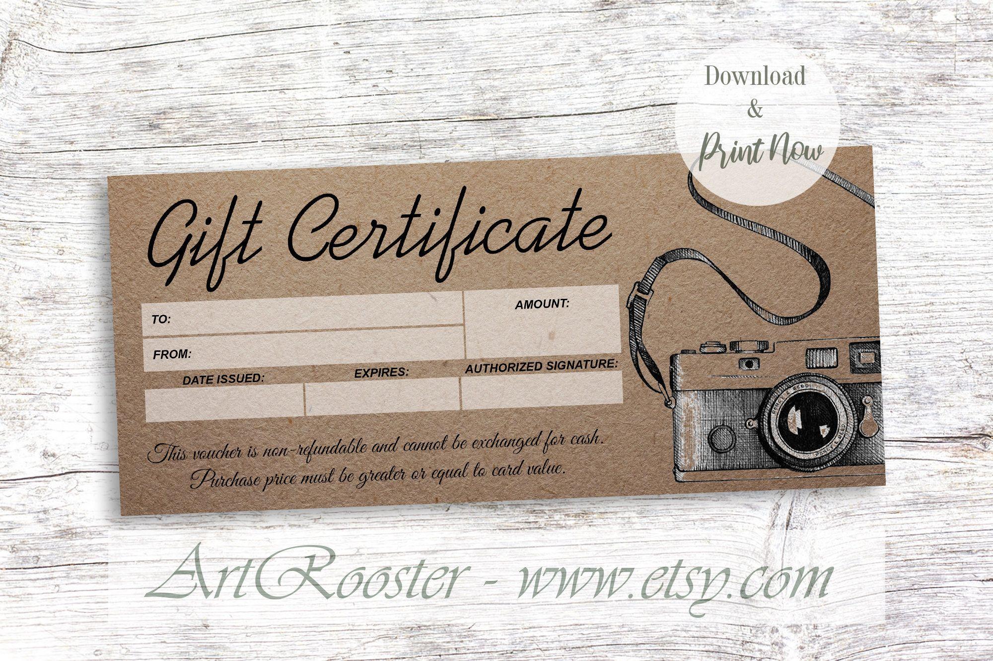 Giftcertificate Printablegiftcertificate Printablegiftcertificatetemplate Printa Photography Gift Certificate Printable Gift Certificate Gift Card Template