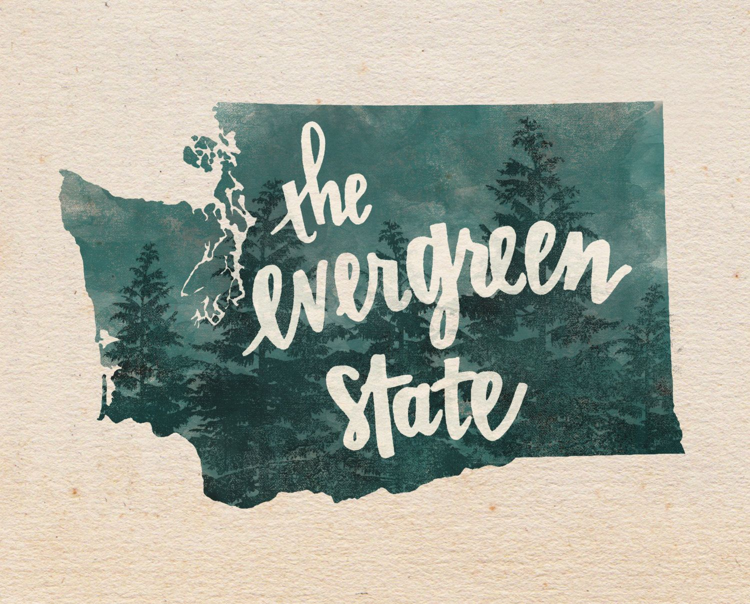 The Evergreen State >> Washington Evergreen State Hand Lettering Digital Print