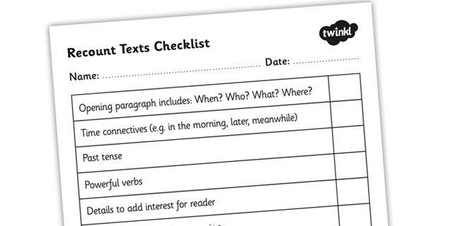 Recount Texts Checklist - recount, writing a recount, recount ...