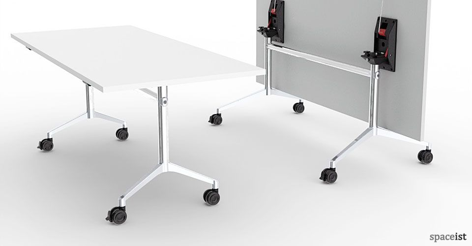 Minimalist Classroom Furniture ~ Ur white stackable wheeled folding table lifestyle