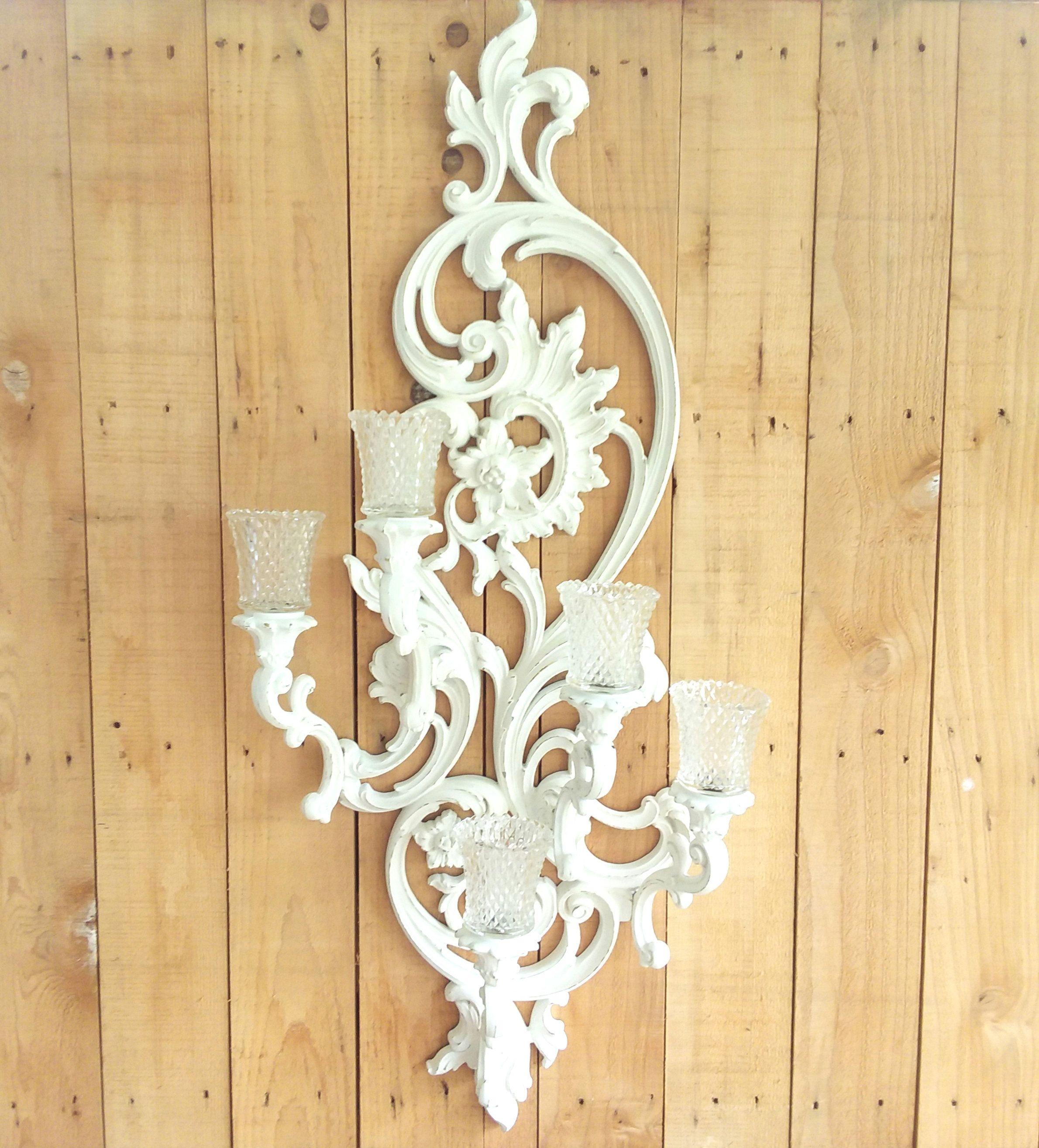 Large White Vintage Shabby Chic Candle Wall Sconce Elegant ...