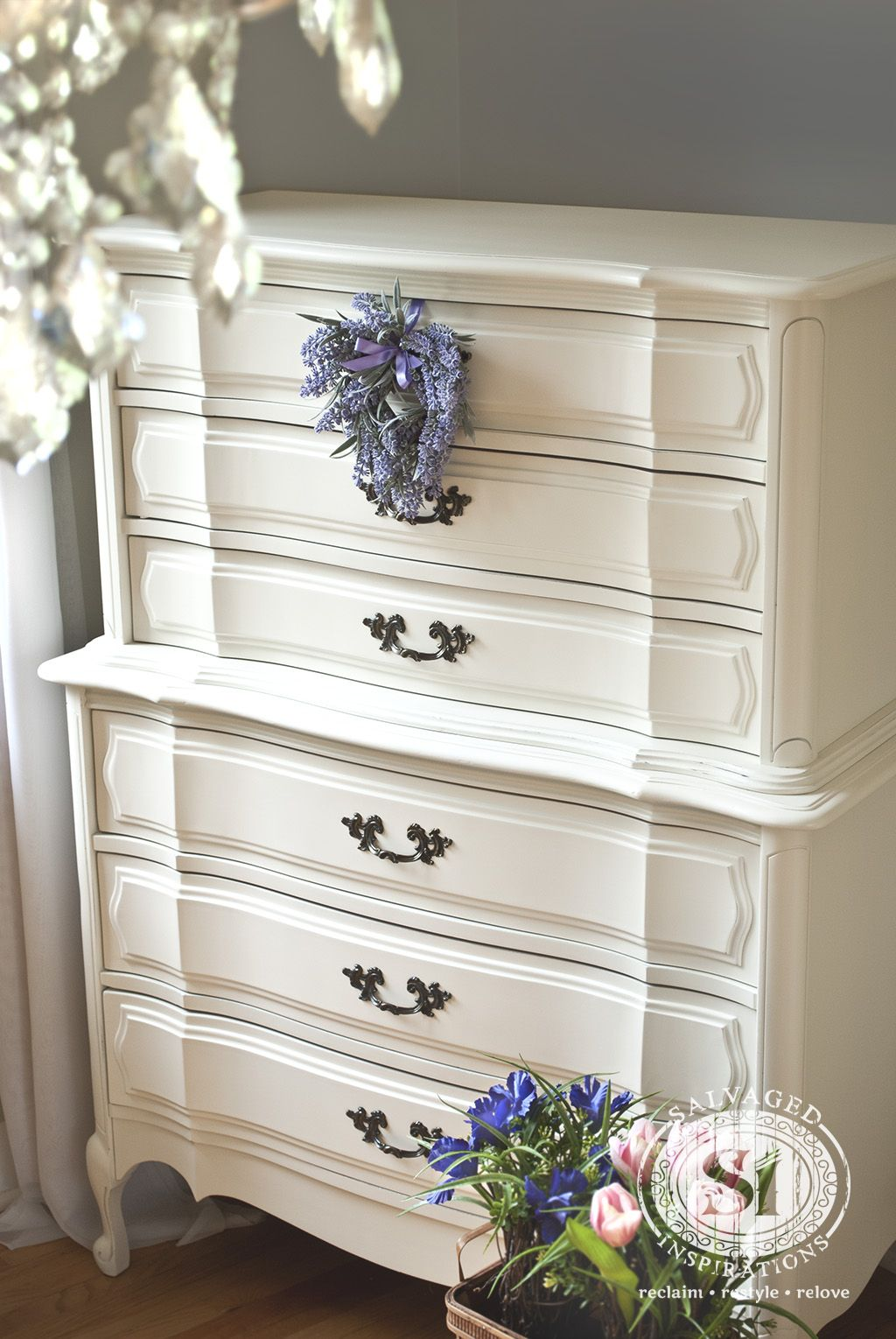 Classic French Provincial Dresser - Restyled with #GeneralFinishes Antique  White Milk Paint. - Roadside Restyle ~ Classic French Dresser French Provincial