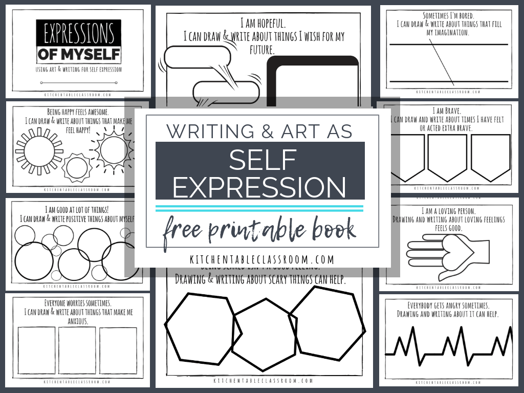 Self Expression Through Writing Art Free Self Esteem Worksheets The Kitchen Table Classroom Self Esteem Worksheets Self Esteem Activities Art Therapy Activities [ 768 x 1024 Pixel ]