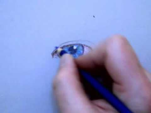 Colored Pencil Drawing of an Eye Part 1