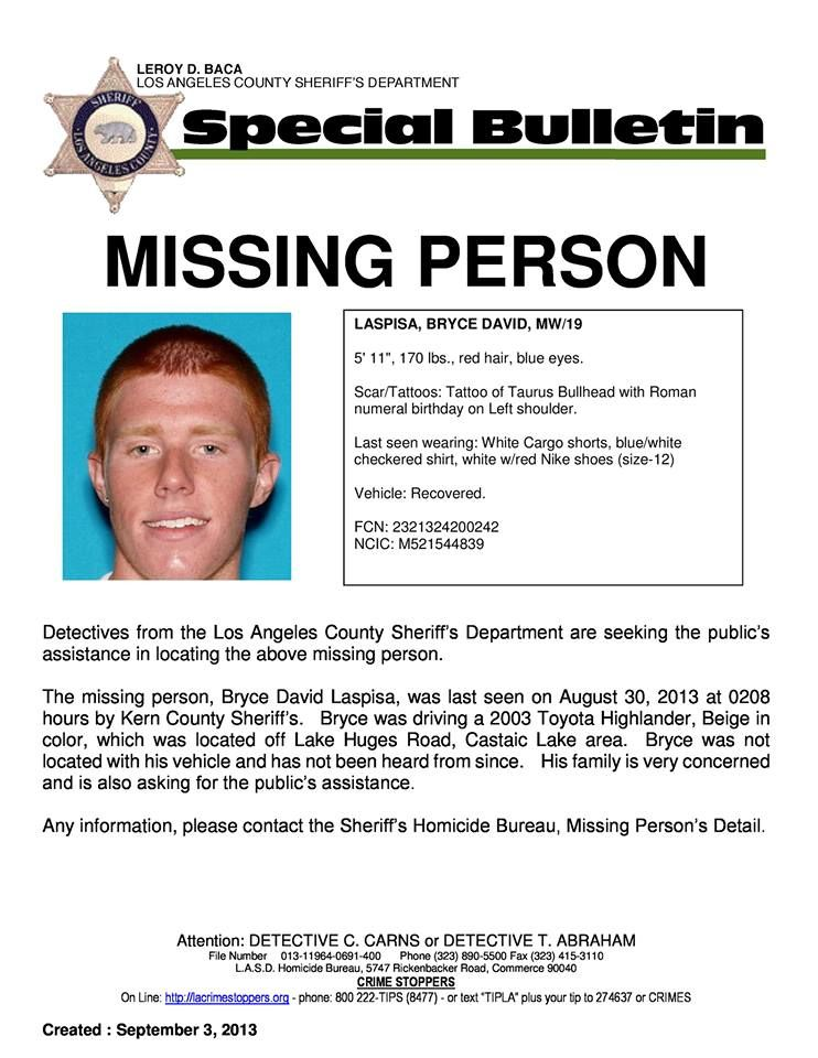 Missing Persons poster for 19-year-old Bryce Laspisa Read More - missing person flyer template