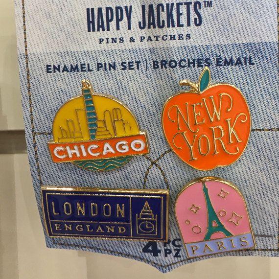 Travel Enamel Pin 4/pkg Happy Jackets Decorative by iluvdesign