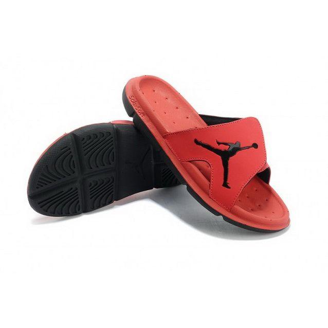 Mens Nike Jordan Slippers Red Black