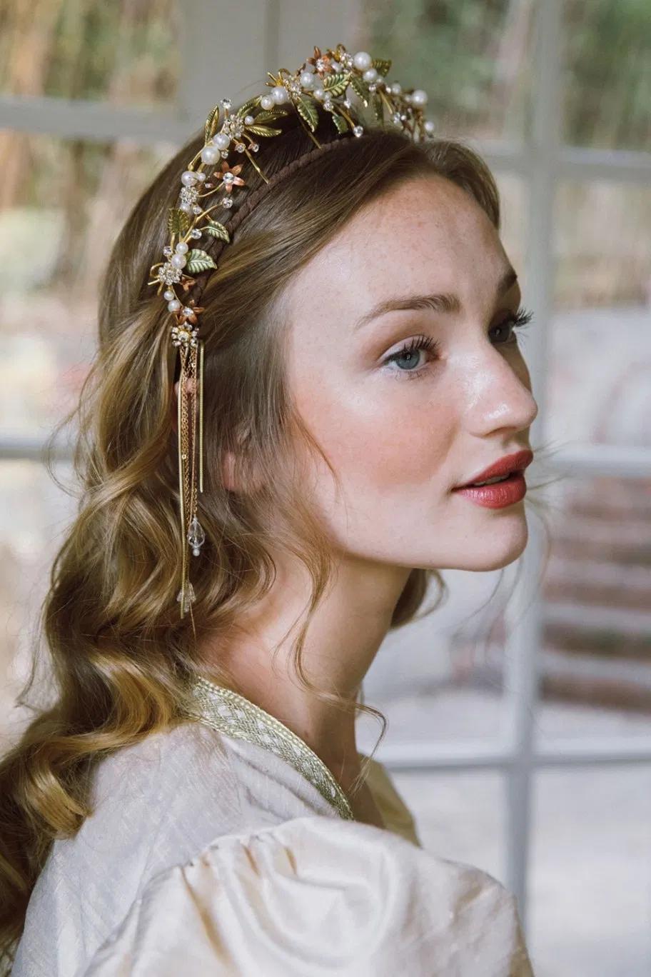 Goddess crown, tiara, wedding headpeice, bridal crown, chain dangles