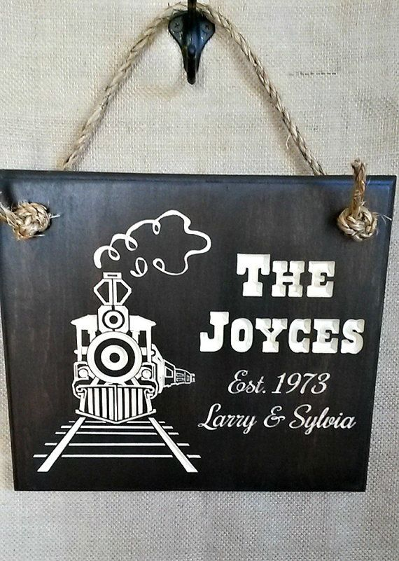 Nostalgic Train Engine Wood Sign Wall Decor ~ Featuring Carved Names ...