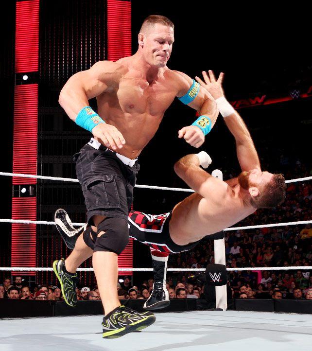 Raw 5 4 15 John Cena Vs Sami Zayn United States Championship Match John Cena Wwe Wrestlers Match