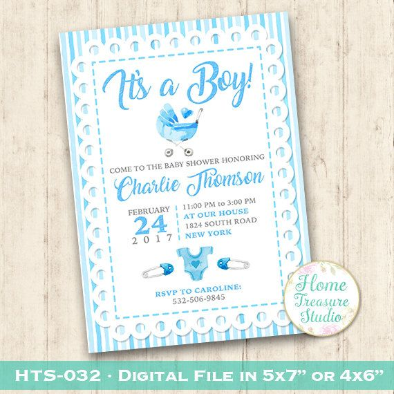 Baby Announcement Card Baby Boy New Born by HomeTreasureStudio – Baby Birth Invitation Card
