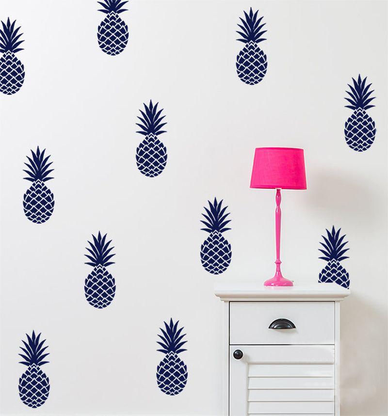 Barato decora o adesivo de parede decalque 12 abacaxi for Stickers pared baratos