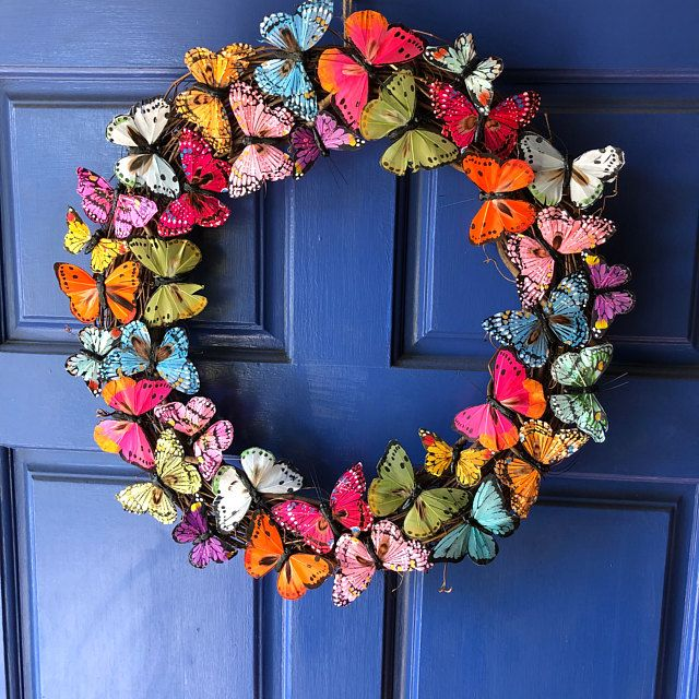 Photo of Spring Wreath, Butterfly Wreath, Butterfly, Summer Wreath, Colorful Wreath, Butterfly Decor, Front Door Wreath, Door Decor, Butterfly Gift