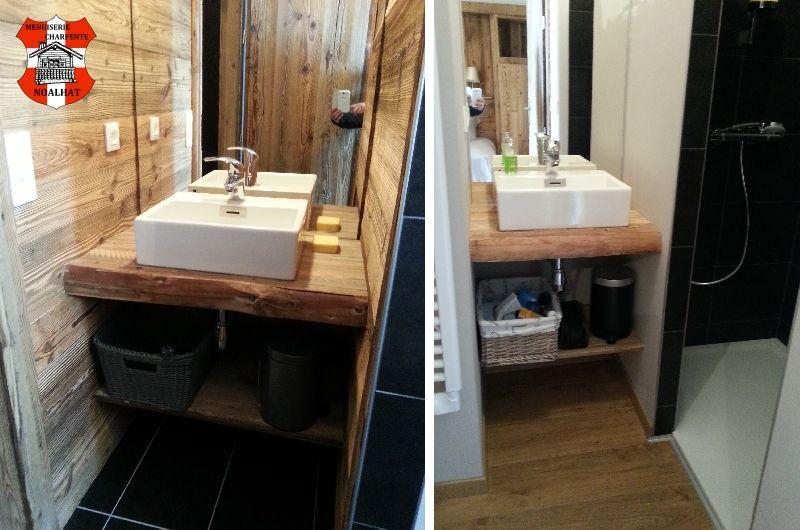 meuble salle de bains vieux bois