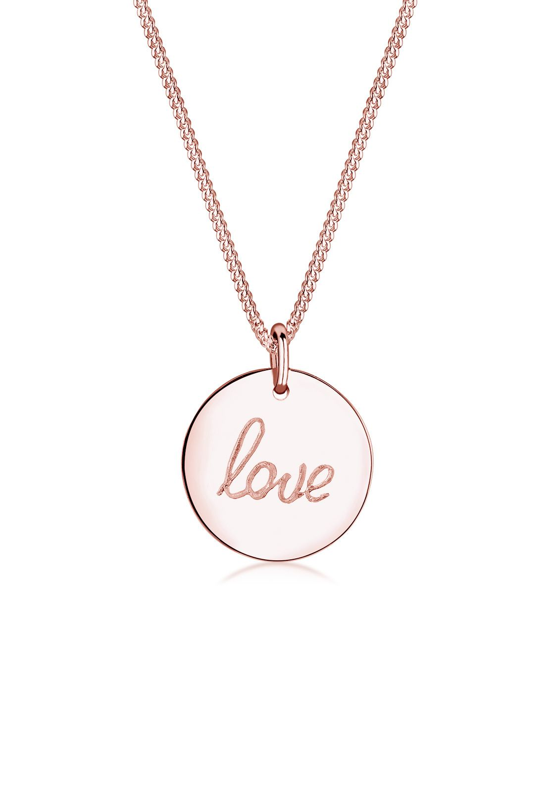 Rose gold plated necklace with love wording on it by Elli