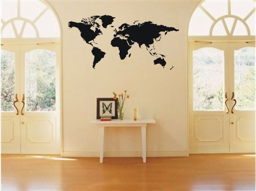 Wallpaper Hot Glass Wall Vinyl Decor Sticker Decal World Map | eBay ...