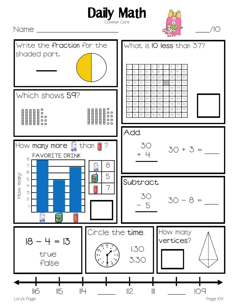 Daily Math Daily Math Math First Grade Math [ 1035 x 800 Pixel ]