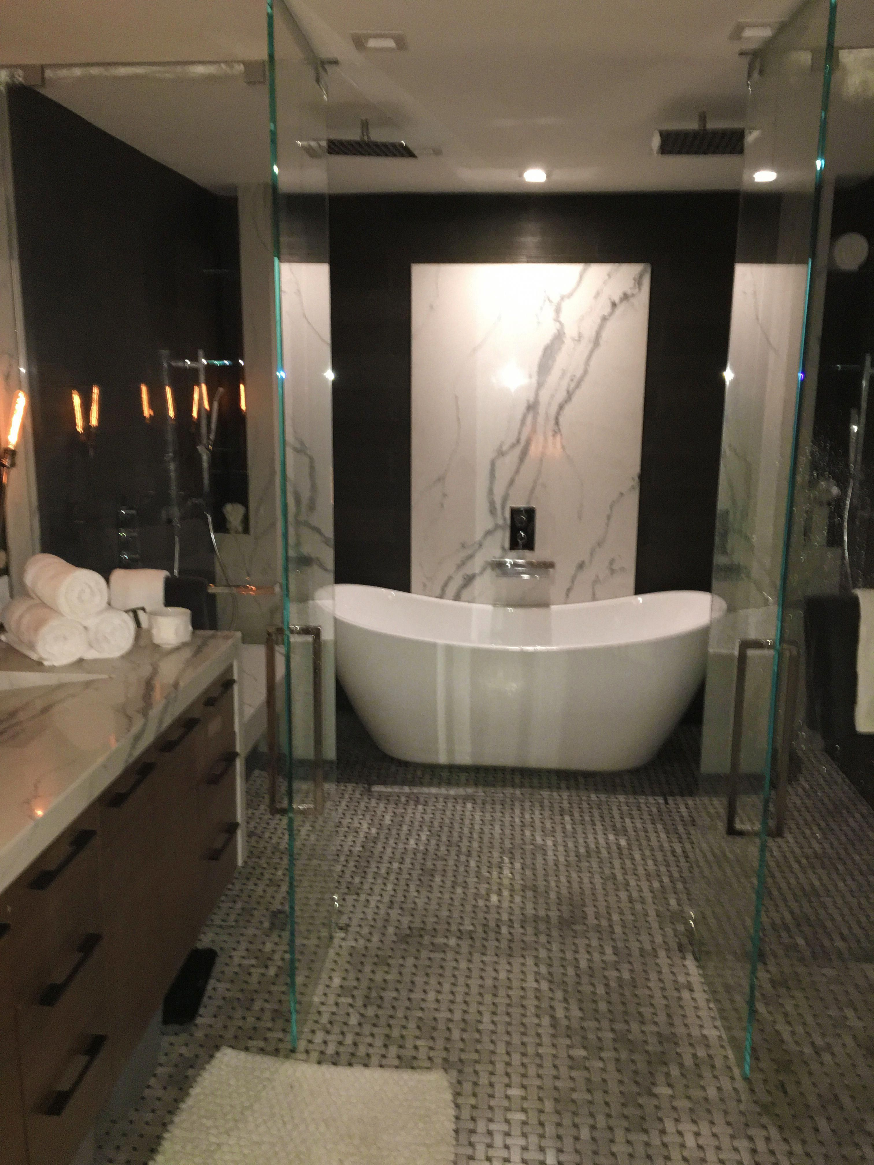 Elegant And Modern Master Bathroom Stand Alone Tub Inside Of A