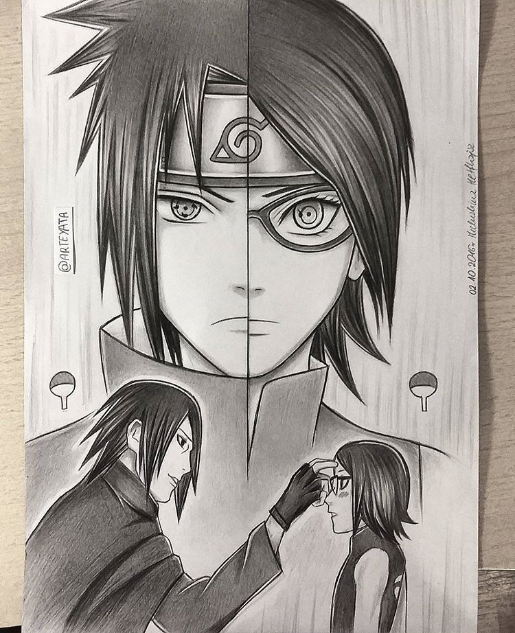 All done in pencil as usual used only 2b faber castell pencil and 05hb for outlines tell me what you think sasuke sarada uchiha ref naruto