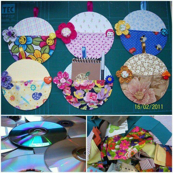 Reciclando cds y tela decoraci n pinterest reciclado for Cd reciclados decoracion