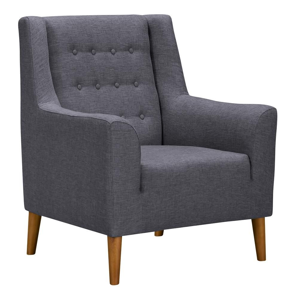 Armen Living Nubia Dark Grey Fabric Accent Chair Dark Gray