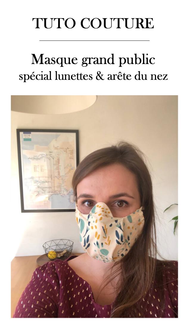 Patron masque artisanal anti buée pour les lunettes et qui n'écrase pas l'arête du nez