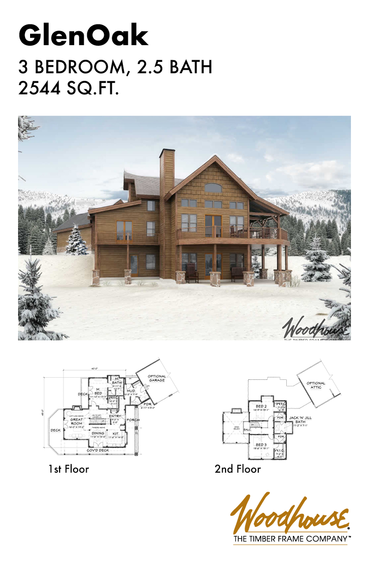 This 2 544 Square Foot Home Plan Has Low Pitched Rooflines That Would Be A Perfect Ski Lodge Do House In The Woods House Floor Plans Timber Frame Home Plans