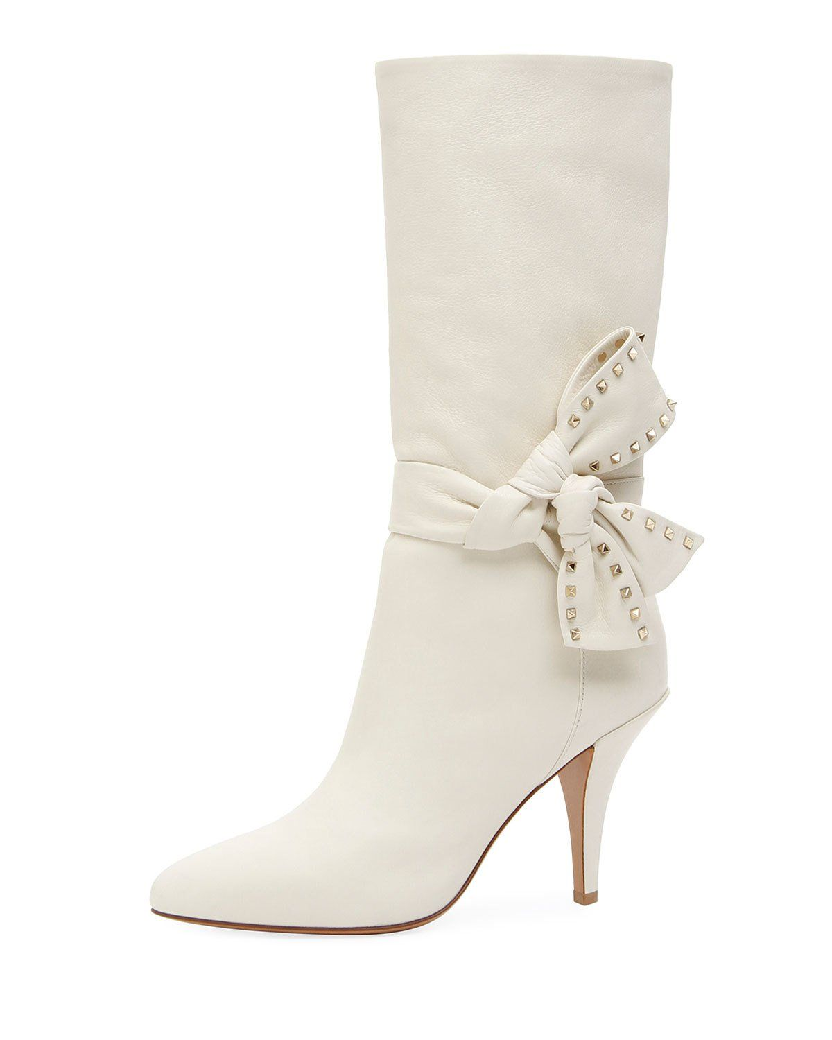 ValentinoSide Bow Leather Booties 2NyFu7W7