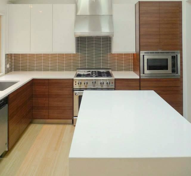 Ikea Kitchen Wood Cabinets: Wood Base Cabinets, White Lacquer Wall Cabinets, Green