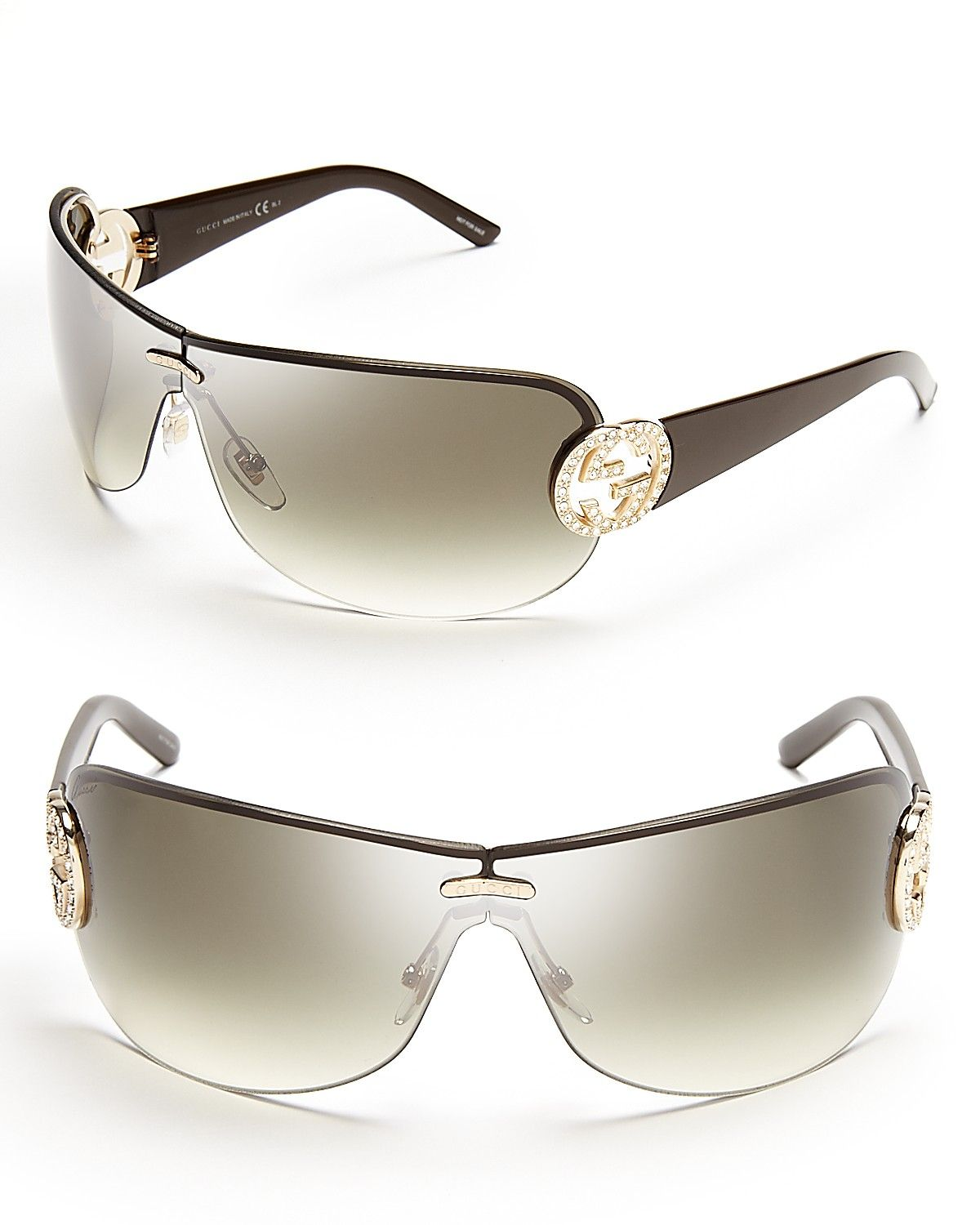 5b22e754a4a Gucci Gradient Shield Sunglasses With Crystal Bridle Temple ...
