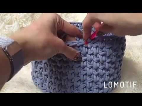 узор крючком для корзинки из ленточной пряжи Youtube вязание