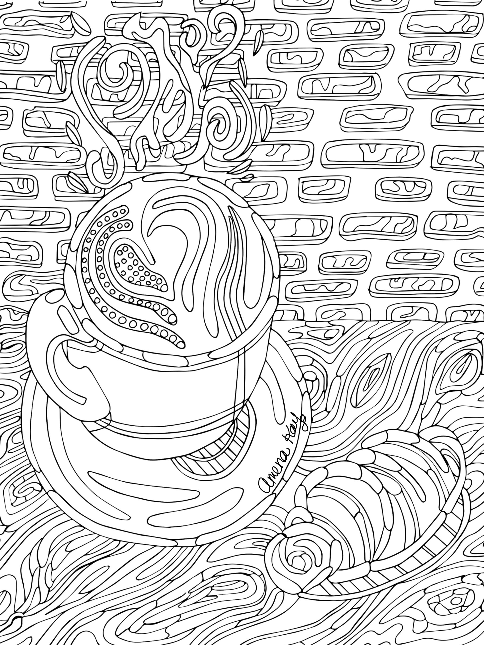 Free Hot Chocolate Coloring Page By Amena Kay Fine Art Follow On Facebook And Instagram Coloring Book Art Famous Art Coloring Coloring Book Album