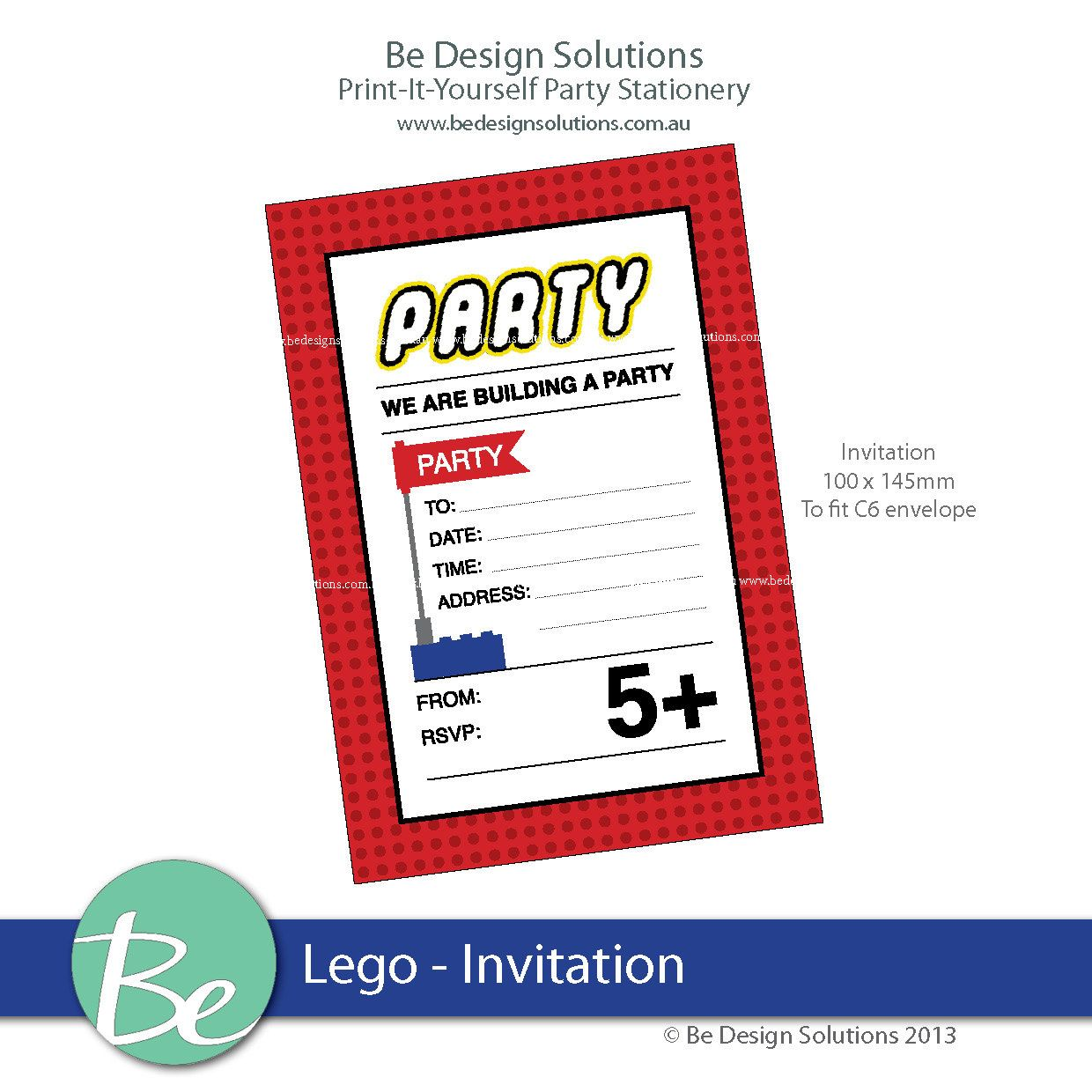 Printable party stationery Invitation Lego by BeDesignSolutions,
