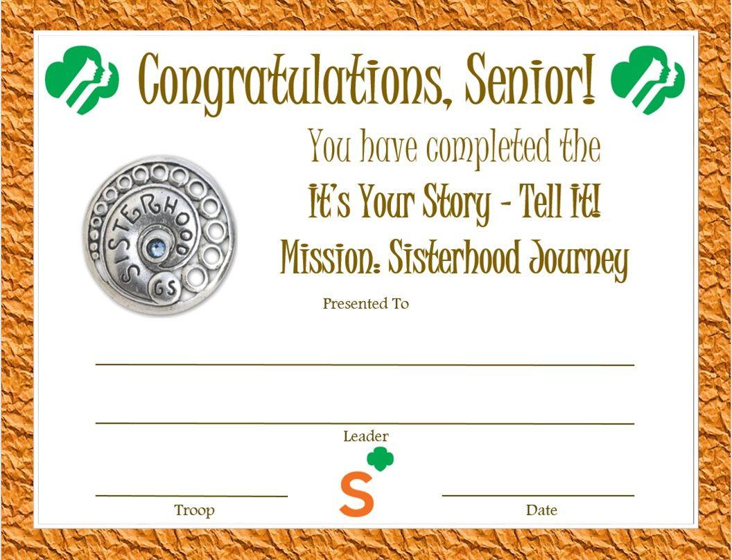 38 best senior certificates images on pinterest girl scout senior mission sisterhood journey award certificate 1betcityfo Images