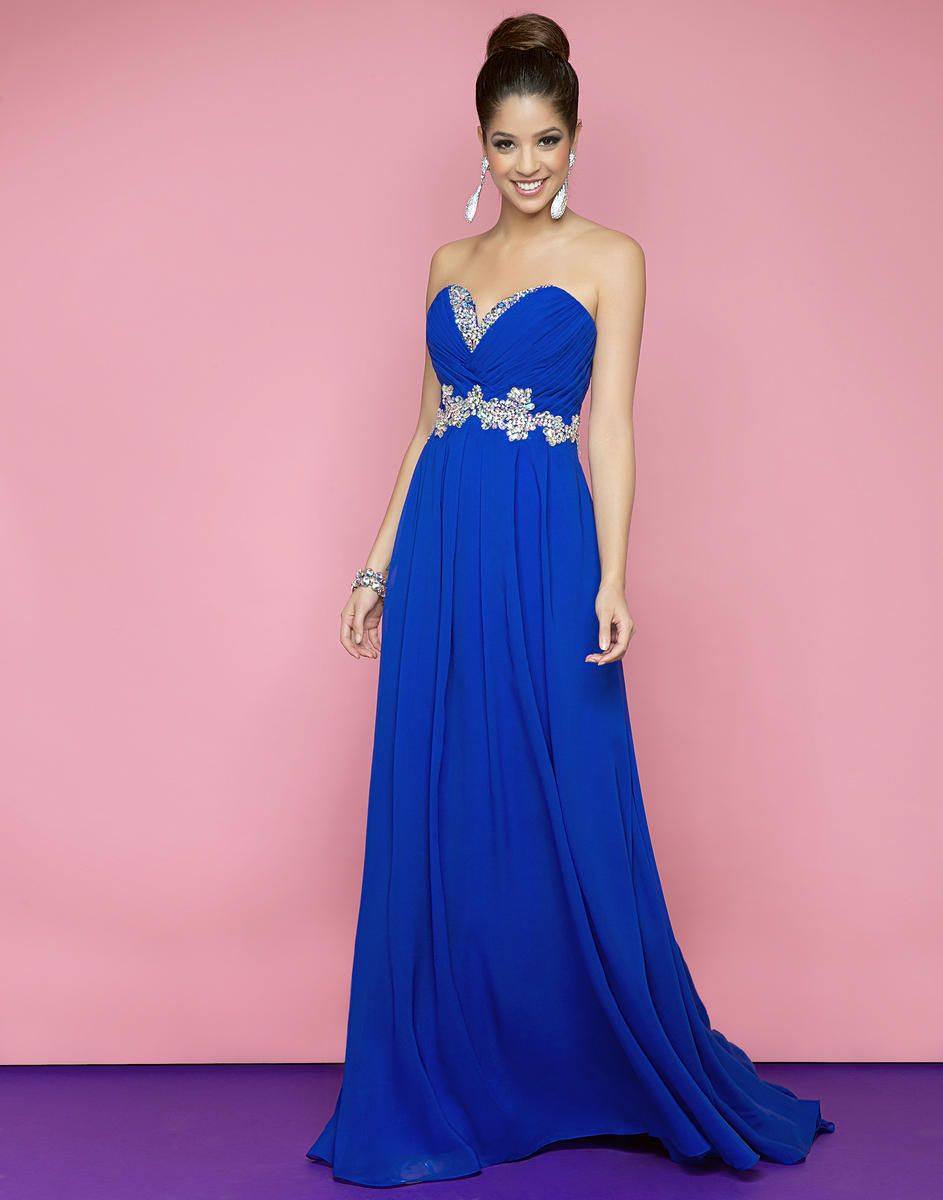 Blueberry Bloom Chiffon Strapless Dress from Blush by Alexia ...