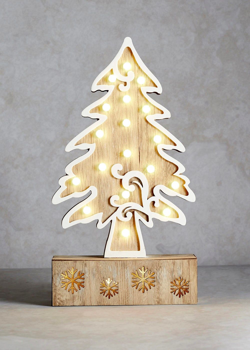 wooden christmas tree led decoration 37cm x 35cm - Wooden Led Christmas Decoration