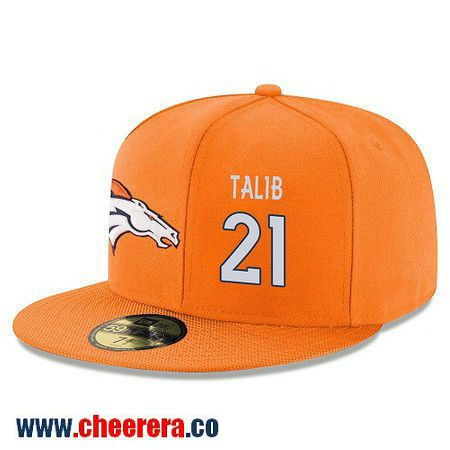 Denver Broncos #21 Aqib Talib Snapback Cap NFL Player Orange with White Number Stitched Hat